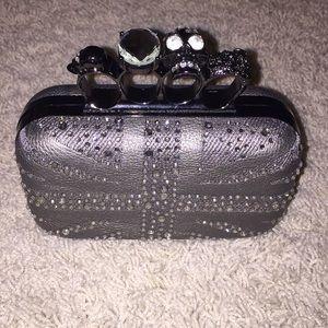Handbags - Crystal Gray Knuckle Purse
